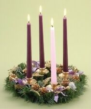 Golden Pine Cone And Purple Ribboned Christmas Advent Wreath