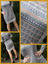 Damen Strick Kleid Tunika mit V-Ausschnitt Mehrfarbig Gr.40