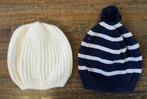 baby Gap LOT (2) Baby Winter Hat Beanie Cable Knit Fleece Lined M/L - PERFECT