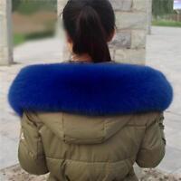 Women New Real Genuine Farm Fox Fur Puffier Collar Chic Elegant Wrap Scarf Shawl