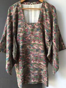 Traditional Kimono Vintage In Beautiful Silk Lined Rare Design Unworn