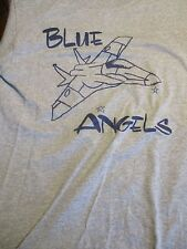 S gray BLUE ANGELS AIRPLANE t-shirt by JERZEES