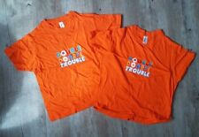 Kids Twin DOUBLE TROUBLE Orange Pair of Tshirts Age 8 Years 118-128cm