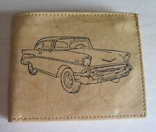 Mens Custom Leather Wallet w/ 1957 CHEVROLET BEL AIR Car Image *Great Gift*