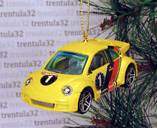 VW Bug VOLKSWAGEN BEETLE CUP RACE CAR CHRISTMAS TREE ORNAMENT Yellow racing XMAS