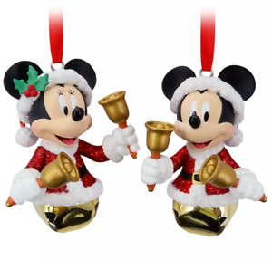 Disney Parks Santa Mickey and Minnie Bell Ornament Set