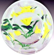 SCARCE Fantastic McDOUGALL Yellow ROSES Bouquet MULTIFACETED Glass PAPERWEIGHT