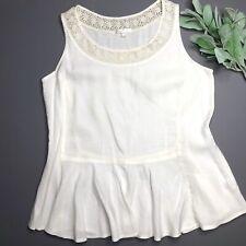 Kleen Womens Small Silk Linen Blend Top Ivory Sleeveless Shirt