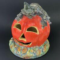 RARE Vintage Halloween Ceramic Light Up Witch CRASH Pumpkin Jack O Lantern JOL