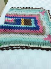 "Hand Crocheted Granny Multi Coloured Blanket  52 x 52 "" - REDUCED ONLY £7.50****"