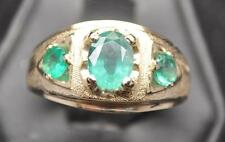 1.68 CT COLOMBIAN EMERALD SOLID 14K YELLOW GOLD MENS RING NEON GLOW SIZE 11.5