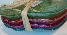 Set of 4  Akcam handmade GLASS Cupcake Glitter Dish Plate NWT