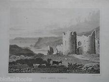 Original Antiquarian Welsh Engraving of Pen Arth Castle (Penarth) c1830 - Wales
