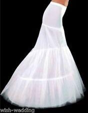 New White 2-Hoop Mermaid Wedding Dress Bridal Petticoat Crinoline Underskirt