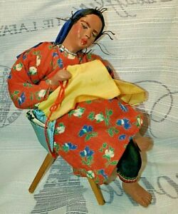 VTG Part Porcelain / CLOTH ISRAEL Souvenir Woman Sewing DOLL + STAMP Tel Aviv