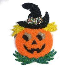 Vintage Halloween Melted Plastic Confetti Popcorn Jack O Lantern Pumpkin Decor
