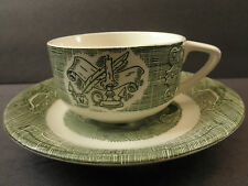 """Cup & Saucer Quil & Ink  """"Old Curiosity Shop"""" Pattern Royal China Green On White"""