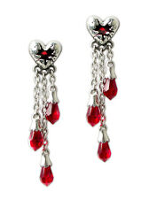 Alchemy Gothic Bleeding Heart Red Swarovski Crystal Vampire Earrings Studs