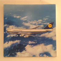 Vintage German Lufthansa Airlines Cargo Plane Poster on Board with frame.