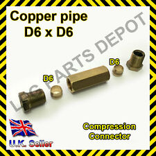 6x6mm Straight Compression Connector copper pipe Joint Coupling Gas Water Lpg