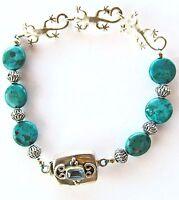 "sterling silver & turquoise link bracelet three geckos, 7 1/2"" long Southwestern"