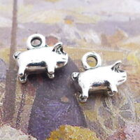 10pcs Charms Cute Fat Pig Animal Tibetan Silver Beads DIY Pendant Jewelry 10x9mm