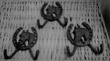 3 Cast Iron Horse Head 2 hook Coat rack  or towel holder