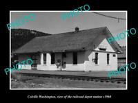 OLD POSTCARD SIZE PHOTO OF COLVILLE WASHINGTON RAILROAD DEPOT STATION c1960