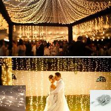 LED WarmWeiß 100LEDs 10M Lichterkette Strip außen Weihnachten Eisregen Eiszapfen