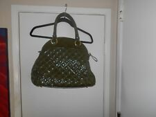 Big Buddha Green Faux Leather Quilted Large Satchel Handbag Pre Owned EUC