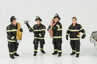 Fire brigade Feuerwehr Mann Set 4 Figuren Figur 1:18 American Diorama no car