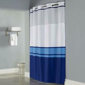 Hookless Shower Curtain with Snap On Liner Blue Stripe Translucent Window 71X77""
