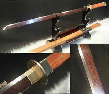 "42.51""Japan Samurai Tang Sword Katana Pattern Steel Red Blade Razor Sharp # 6412"