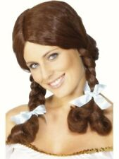Ladies Dorothy Wig Country Girl Brown Plaits fancy dress costume