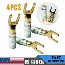 4Pcs Gold-plated Brass Speaker Plug Audio Screw Banana Spade Connector Y/U Type