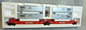 Lionel 6-16360 N&W Maxi-Stack (Articulated Well Car) w/ 4 Containers... New!