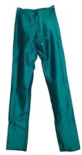 VINTAGE BOJEANGLES Skin-Ease Spandex Disco Pants Shiny Nylon Jeans Teal Green