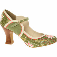 £60 Ruby Shoo Rosalind Avocado Green Floral Vegan Heeled Ankle Strap Pumps UK 7