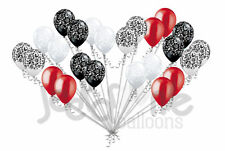 24 pc Elegant Damask Black White Clear Satin Red Latex Balloons Party Decoration