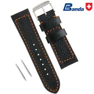 Banda Premium Grade Calfskin Buffalo Grain Leather Watch Bands (Sizes 18 - 28mm)