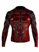 Raven Fightwear Men's Cybernetic Rash Guard MMA BJJ Red