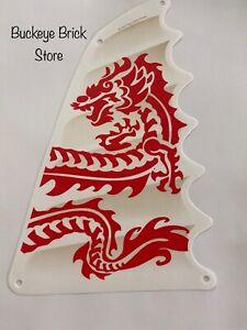 NEW Lego WHITE CLOTH Ninjago BOAT SAIL 18x27 Triangular Red Dragon Head Pattern