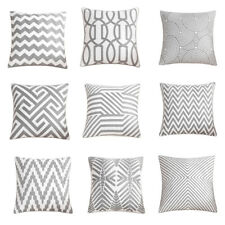"""Soft Cotton Gray Throw Pillow Cover Geometry Sofa Couch Grey Cushion Case 18x18"""""""