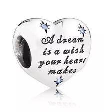 Is A Wish Charm & Pouch 🇬🇧💜💜925 Sterling Silver Disney Cinderella A Dream