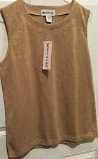 NWT GOLD Metallic Fleck Sleeveless Knit TOP Bob Mackie Shirt Medium Chest 40""