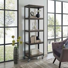 Industrial Modern Wood Shelf Steel Display Storage Bookcase on Wheel Casters