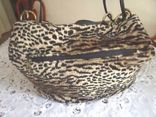 Extra Large Leopard Faux Fur Satchel Hobo Shoulder Bag Excellent Condition!