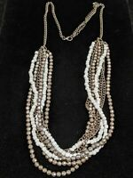 Vintage Silver Tone White Faceted Bead Gray Multi Strand Boho Necklace