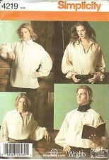 Simplicity Sewing Pattern 4219 Unisex Men Renaissance Poet Shirt Costume XS - XL