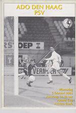 Programma / Programme ADO Den Haag v PSV Eindhoven 5-02-03 1/8 Finale Amstel Cup